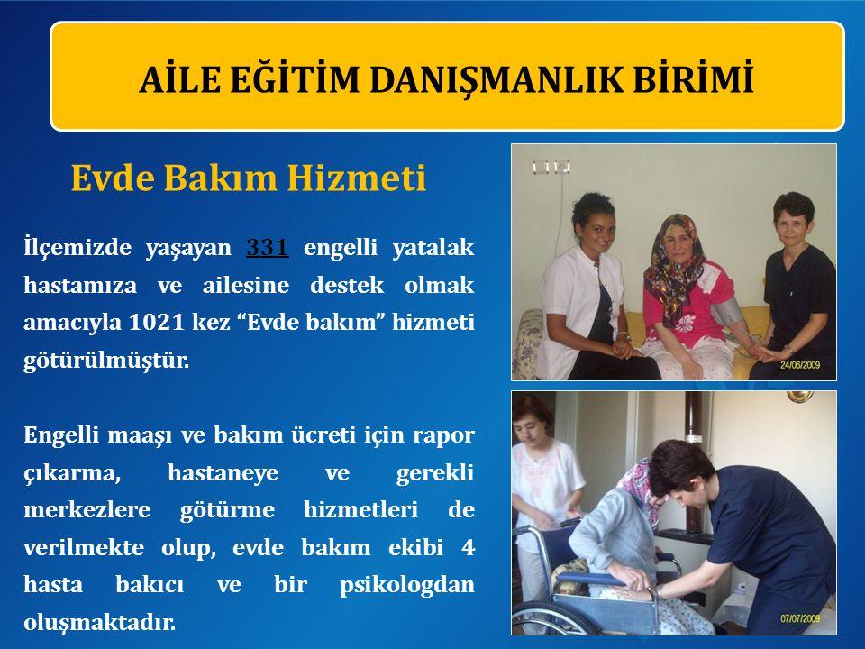 AİLE EĞİTİM DANIŞMANLIK BİRİMİ Evde Bakım Hizmeti İlçemizde yaşayan 331 engelli yatalak hastamıza ve ailesine destek olmak amacıyla 1021 kez Evde bakım hizmeti götürülmüştür.