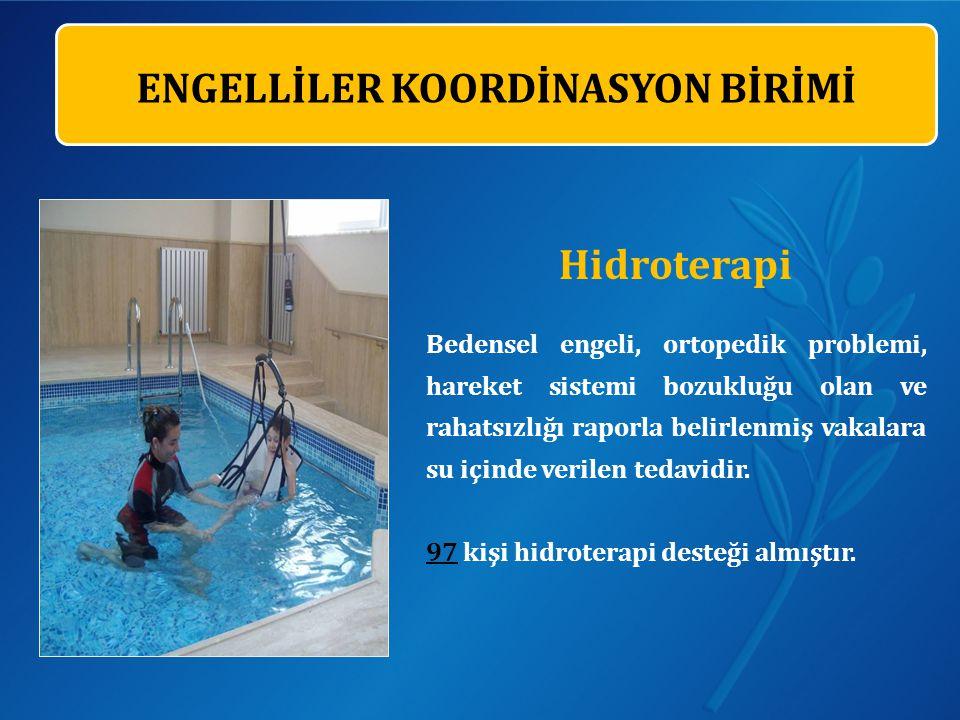 Hidroterapi Bedensel engeli, ortopedik problemi, hareket sistemi bozukluğu olan ve rahatsızlığı raporla belirlenmiş vakalara su içinde verilen tedavidir.