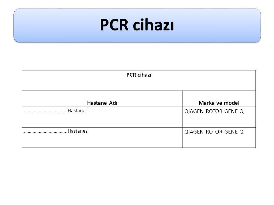 PCR cihazı Hastane AdıMarka ve model ……………………………..Hastanesi QIAGEN ROTOR GENE Q ……………………………..Hastanesi QIAGEN ROTOR GENE Q
