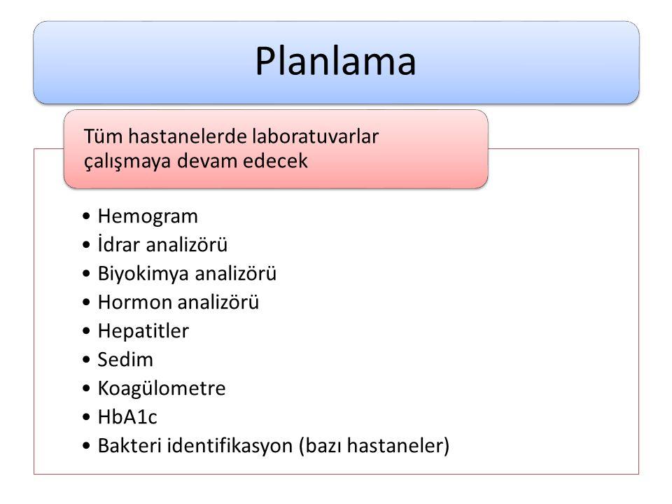 Planlama •Hemogram •İdrar analizörü •Biyokimya analizörü •Hormon analizörü •Hepatitler •Sedim •Koagülometre •HbA1c •Bakteri identifikasyon (bazı hasta