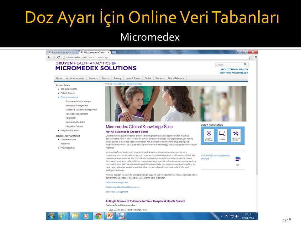 Micromedex Doz Ayarı İçin Online Veri Tabanları 1/46