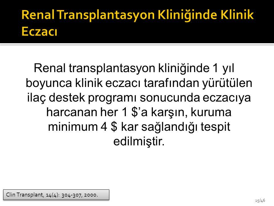 Renal transplantasyon kliniğinde 1 yıl boyunca klinik eczacı tarafından yürütülen ilaç destek programı sonucunda eczacıya harcanan her 1 $'a karşın, k