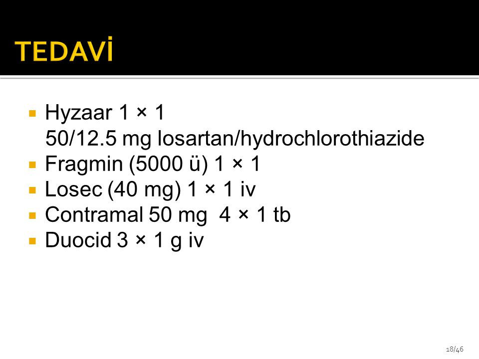  Hyzaar 1 × 1 50/12.5 mg losartan/hydrochlorothiazide  Fragmin (5000 ü) 1 × 1  Losec (40 mg) 1 × 1 iv  Contramal 50 mg 4 × 1 tb  Duocid 3 × 1 g i
