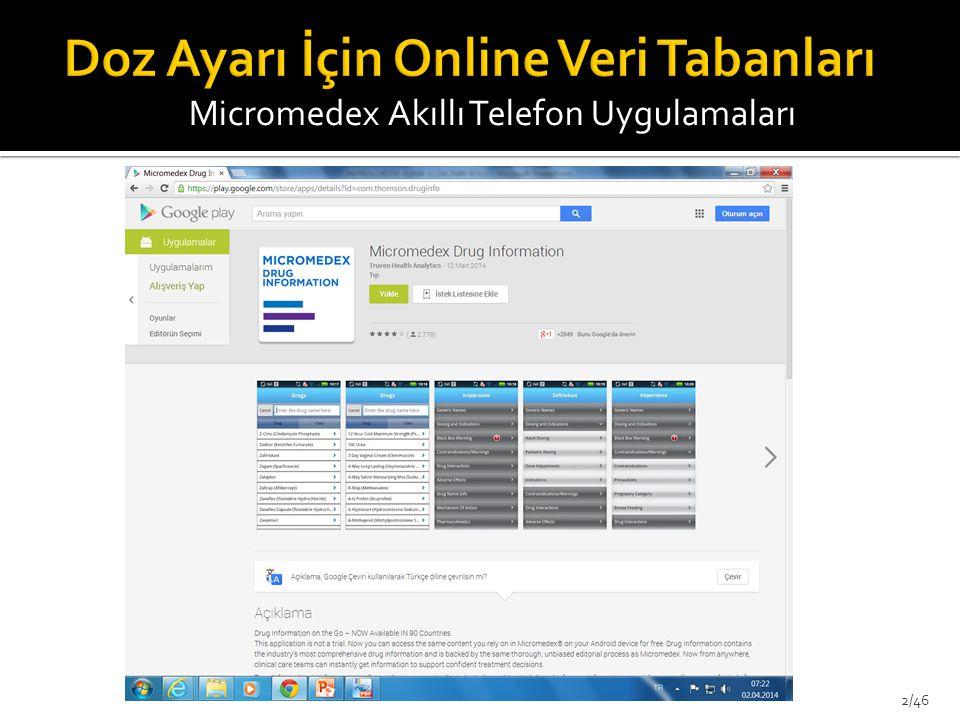 Micromedex Akıllı Telefon Uygulamaları 2/46