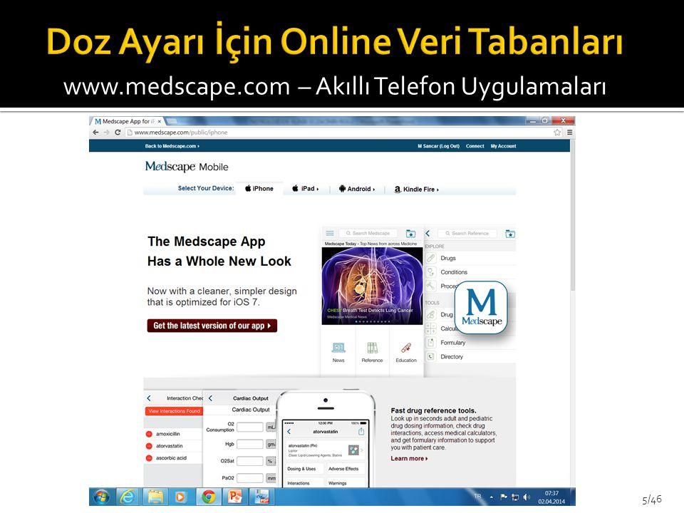 www.medscape.com – Akıllı Telefon Uygulamaları 5/46