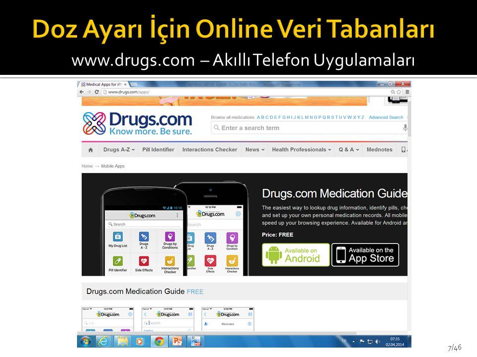 www.drugs.com – Akıllı Telefon Uygulamaları 7/46