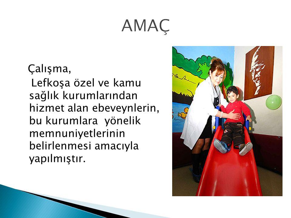 Çalışma, Lefkoşa özel ve kamu sağlık kurumlarından hizmet alan ebeveynlerin, bu kurumlara yönelik memnuniyetlerinin belirlenmesi amacıyla yapılmıştır.