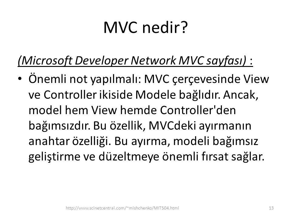 MVC nedir? (Microsoft Developer Network MVC sayfası) : • Önemli not yapılmalı: MVC çerçevesinde View ve Controller ikiside Modele bağlıdır. Ancak, mod