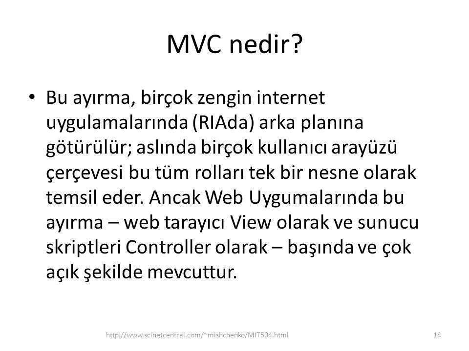 MVC nedir? • Bu ayırma, birçok zengin internet uygulamalarında (RIAda) arka planına götürülür; aslında birçok kullanıcı arayüzü çerçevesi bu tüm rolla