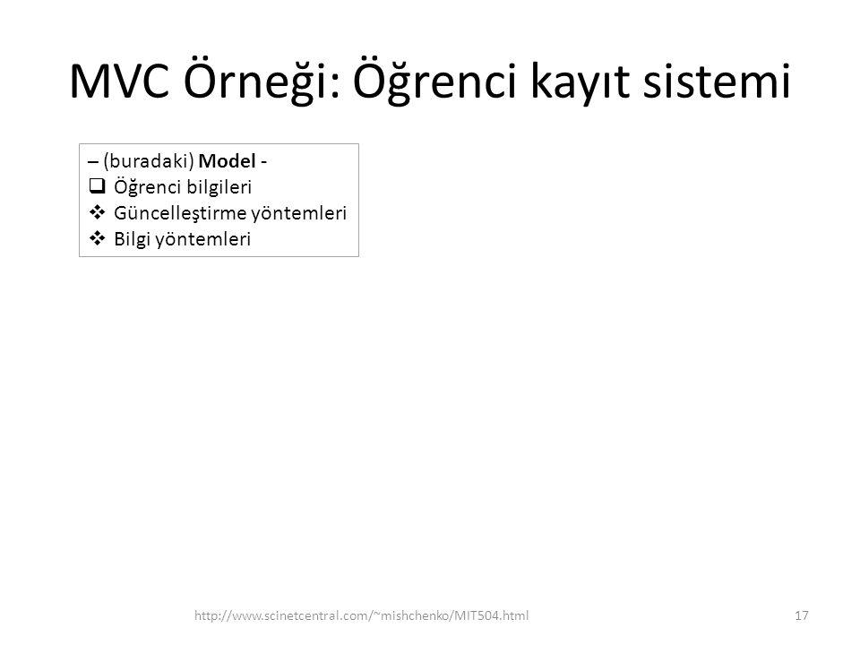 MVC Örneği: Öğrenci kayıt sistemi http://www.scinetcentral.com/~mishchenko/MIT504.html17 – (buradaki) Model -  Öğrenci bilgileri  Güncelleştirme yön