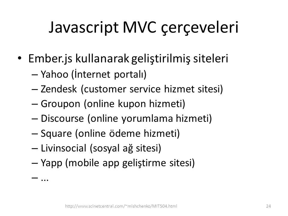 Javascript MVC çerçeveleri • Ember.js kullanarak geliştirilmiş siteleri – Yahoo (İnternet portalı) – Zendesk (customer service hizmet sitesi) – Groupo