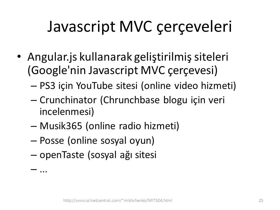 Javascript MVC çerçeveleri • Angular.js kullanarak geliştirilmiş siteleri (Google'nin Javascript MVC çerçevesi) – PS3 için YouTube sitesi (online vide