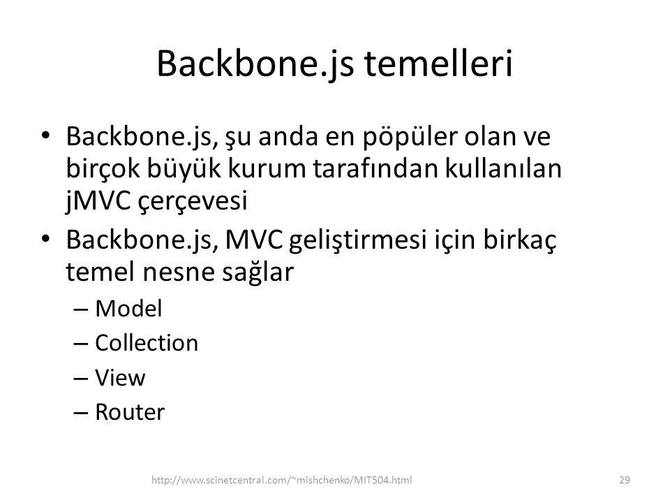 Backbone.js temelleri • Backbone.js, şu anda en pöpüler olan ve birçok büyük kurum tarafından kullanılan jMVC çerçevesi • Backbone.js, MVC geliştirmes