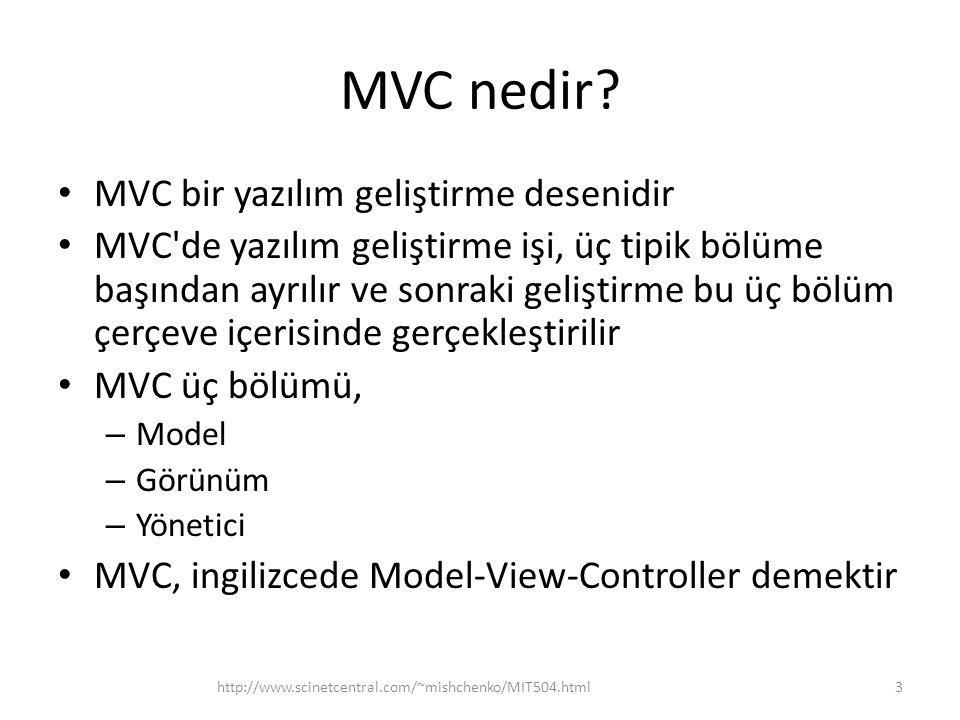 MVC nedir? • MVC bir yazılım geliştirme desenidir • MVC'de yazılım geliştirme işi, üç tipik bölüme başından ayrılır ve sonraki geliştirme bu üç bölüm