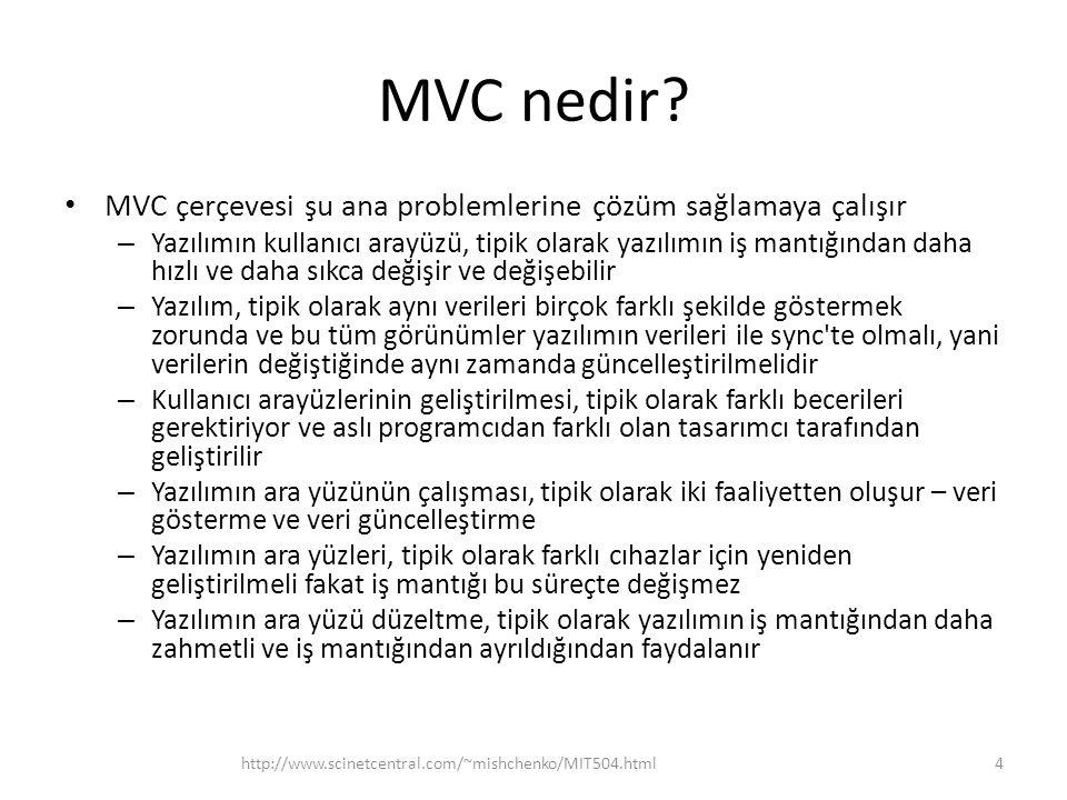 MVC nedir? • MVC çerçevesi şu ana problemlerine çözüm sağlamaya çalışır – Yazılımın kullanıcı arayüzü, tipik olarak yazılımın iş mantığından daha hızl