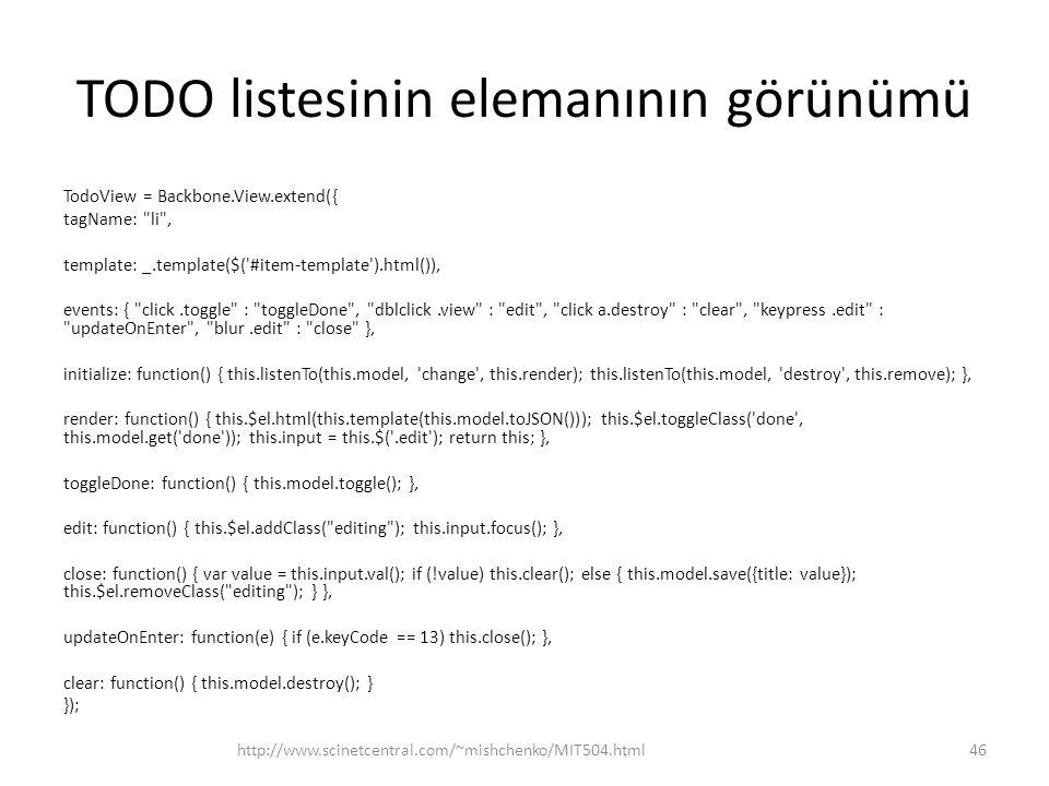 TODO listesinin elemanının görünümü TodoView = Backbone.View.extend({ tagName: