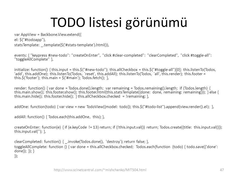 TODO listesi görünümü var AppView = Backbone.View.extend({ el: $(