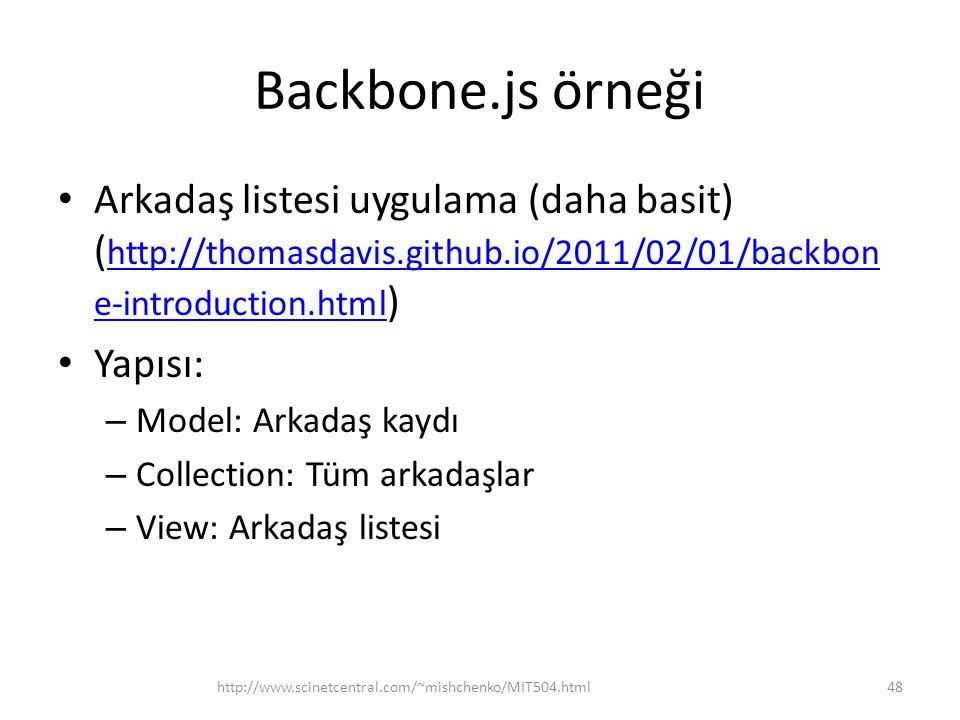 Backbone.js örneği • Arkadaş listesi uygulama (daha basit) ( http://thomasdavis.github.io/2011/02/01/backbon e-introduction.html ) http://thomasdavis.