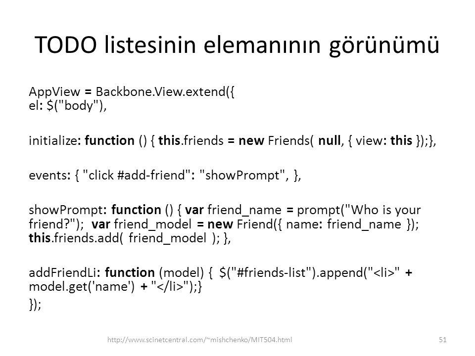 TODO listesinin elemanının görünümü AppView = Backbone.View.extend({ el: $(