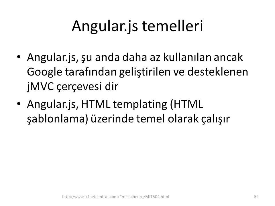 Angular.js temelleri • Angular.js, şu anda daha az kullanılan ancak Google tarafından geliştirilen ve desteklenen jMVC çerçevesi dir • Angular.js, HTM