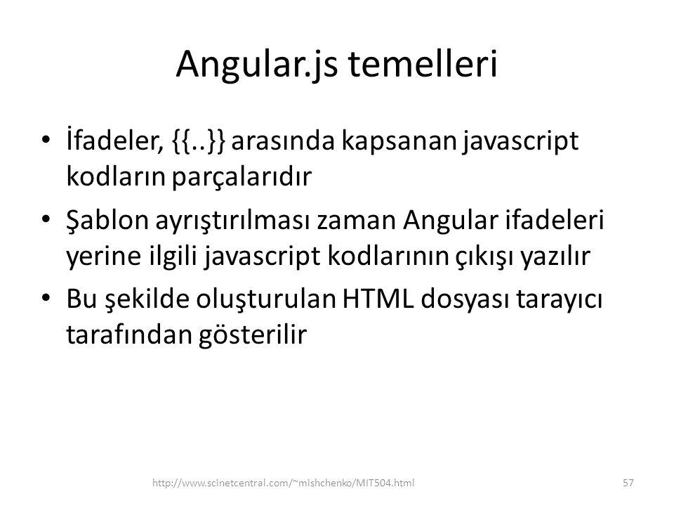 Angular.js temelleri • İfadeler, {{..}} arasında kapsanan javascript kodların parçalarıdır • Şablon ayrıştırılması zaman Angular ifadeleri yerine ilgi