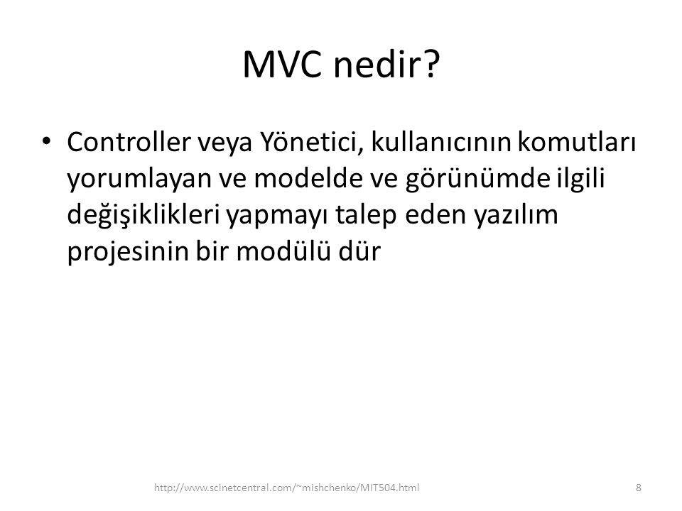 MVC nedir? • Controller veya Yönetici, kullanıcının komutları yorumlayan ve modelde ve görünümde ilgili değişiklikleri yapmayı talep eden yazılım proj