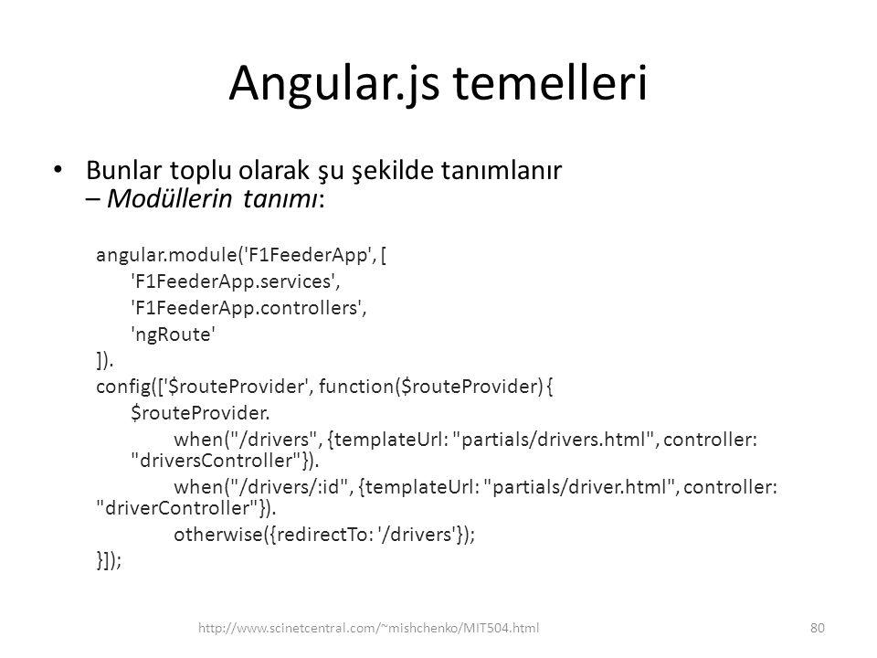 Angular.js temelleri • Bunlar toplu olarak şu şekilde tanımlanır – Modüllerin tanımı: angular.module('F1FeederApp', [ 'F1FeederApp.services', 'F1Feede