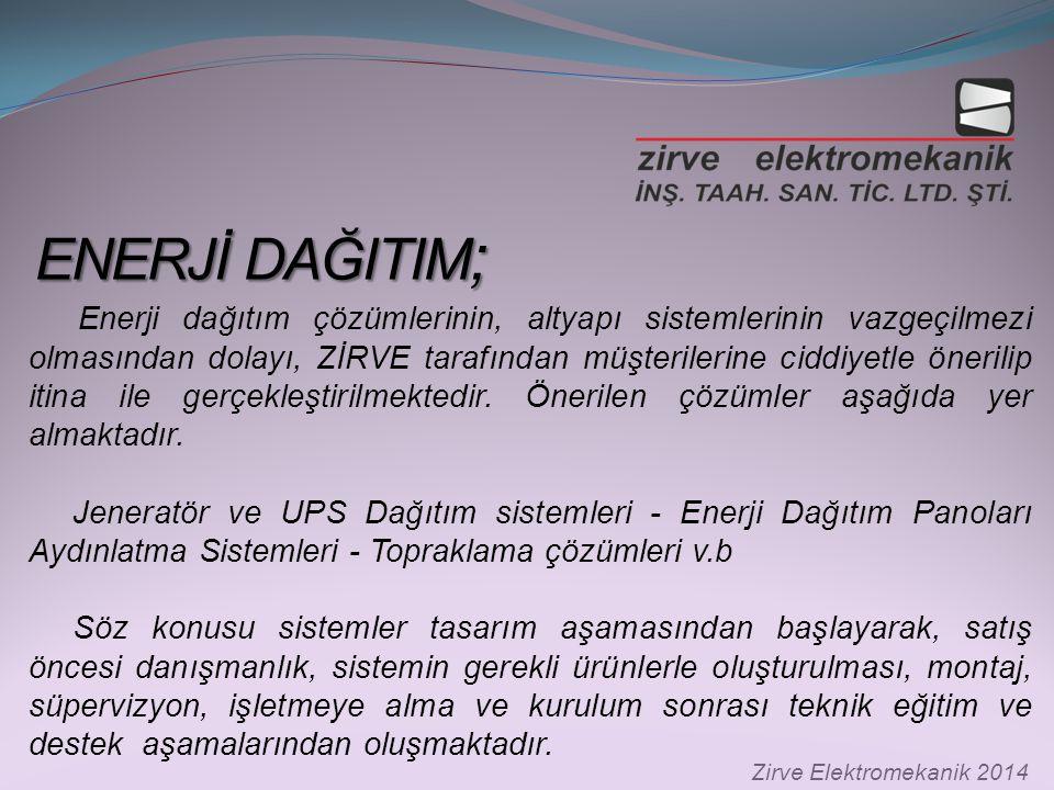 ENERJİ DAĞITIM ; ENERJİ DAĞITIM ; Zirve Elektromekanik 2014