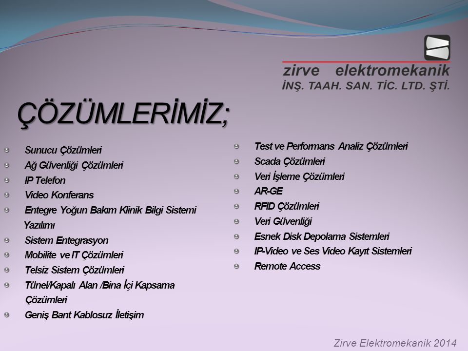 SERTİFİKALARIMIZ; SERTİFİKALARIMIZ; Zirve Elektromekanik 2014