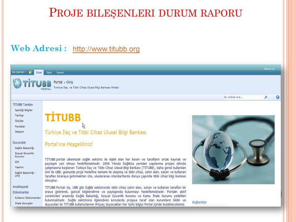 P ROJE BILEŞENLERI DURUM RAPORU Web Adresi : http://www.titubb.org