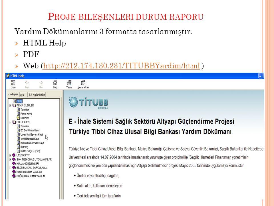 P ROJE BILEŞENLERI DURUM RAPORU Yardım Dökümanlarını 3 formatta tasarlanmıştır.  HTML Help  PDF  Web (http://212.174.130.231/TITUBBYardim/html )htt