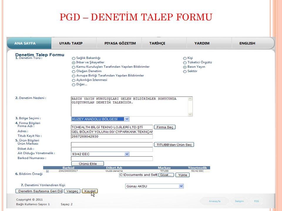 PGD – DENETİM TALEP FORMU