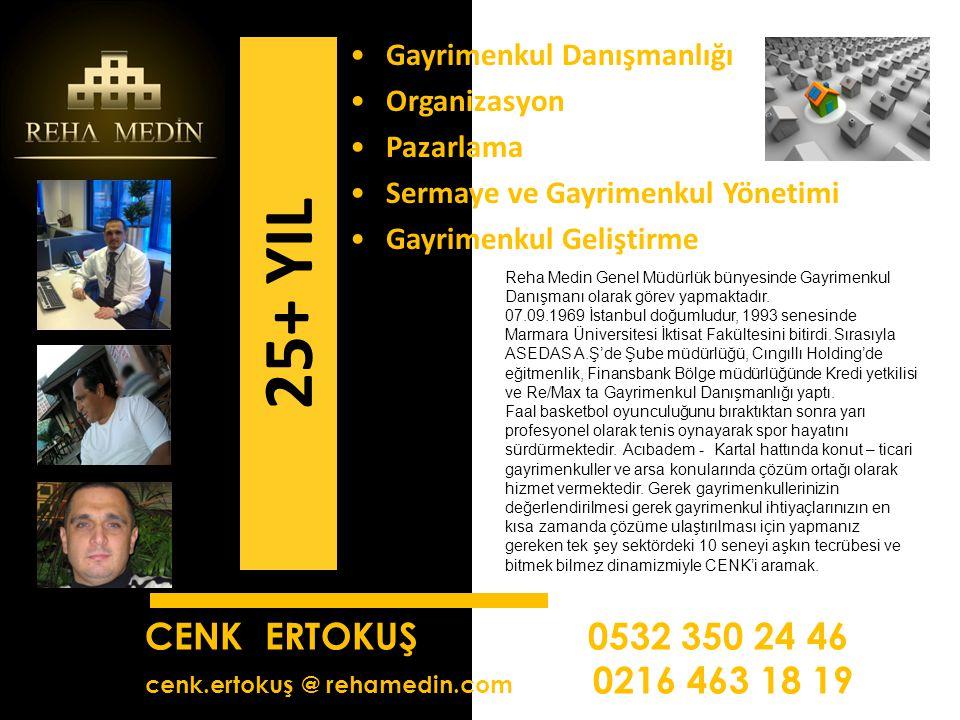 CENK ERTOKUŞ 0532 350 24 46 cenk.ertokuş @ rehamedin.com 0216 463 18 19 Reha Medin Genel Müdürlük bünyesinde Gayrimenkul Danışmanı olarak görev yapmaktadır.