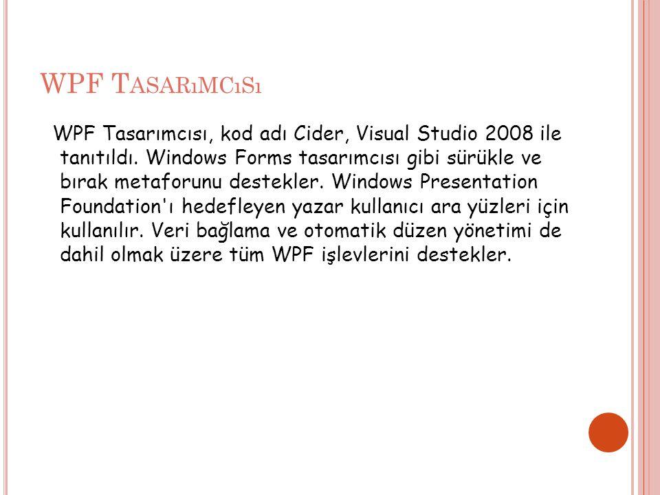 WPF T ASARıMCıSı WPF Tasarımcısı, kod adı Cider, Visual Studio 2008 ile tanıtıldı.