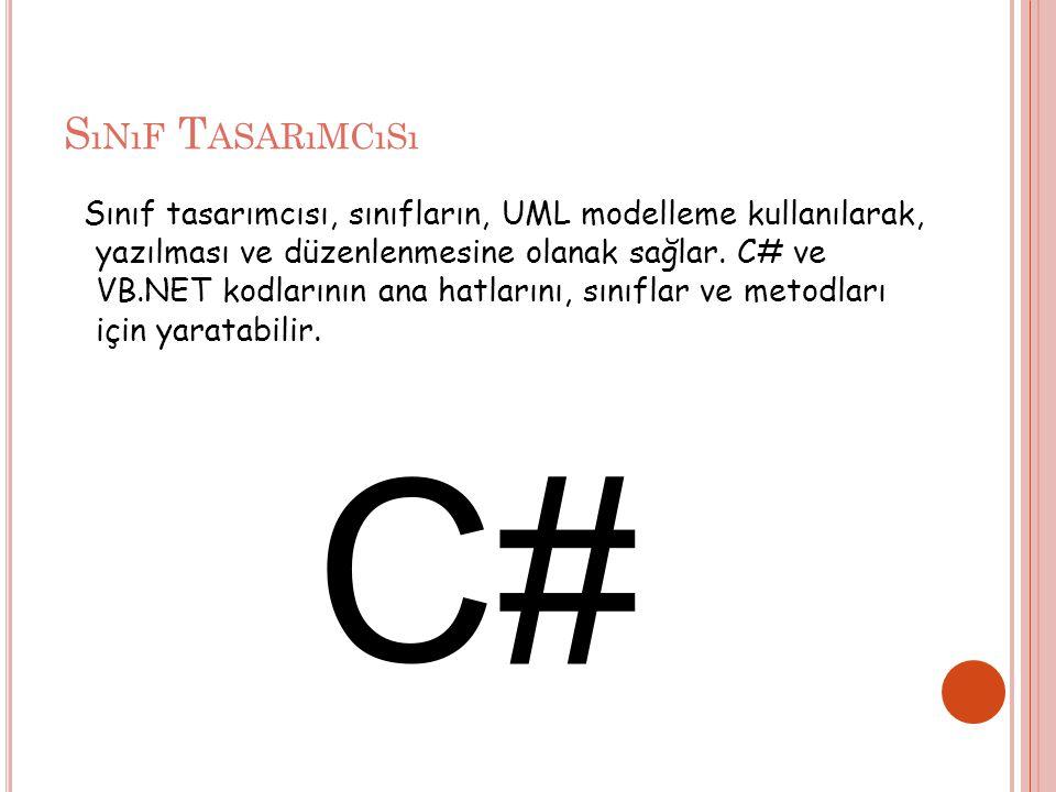 S ıNıF T ASARıMCıSı Sınıf tasarımcısı, sınıfların, UML modelleme kullanılarak, yazılması ve düzenlenmesine olanak sağlar.