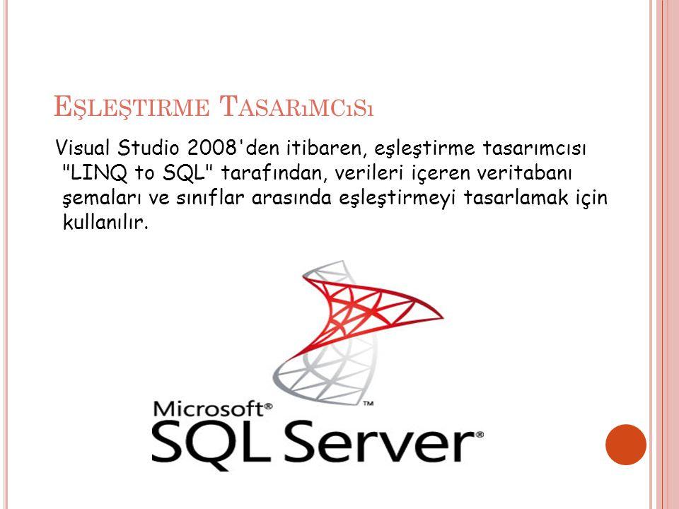 E ŞLEŞTIRME T ASARıMCıSı Visual Studio 2008 den itibaren, eşleştirme tasarımcısı LINQ to SQL tarafından, verileri içeren veritabanı şemaları ve sınıflar arasında eşleştirmeyi tasarlamak için kullanılır.
