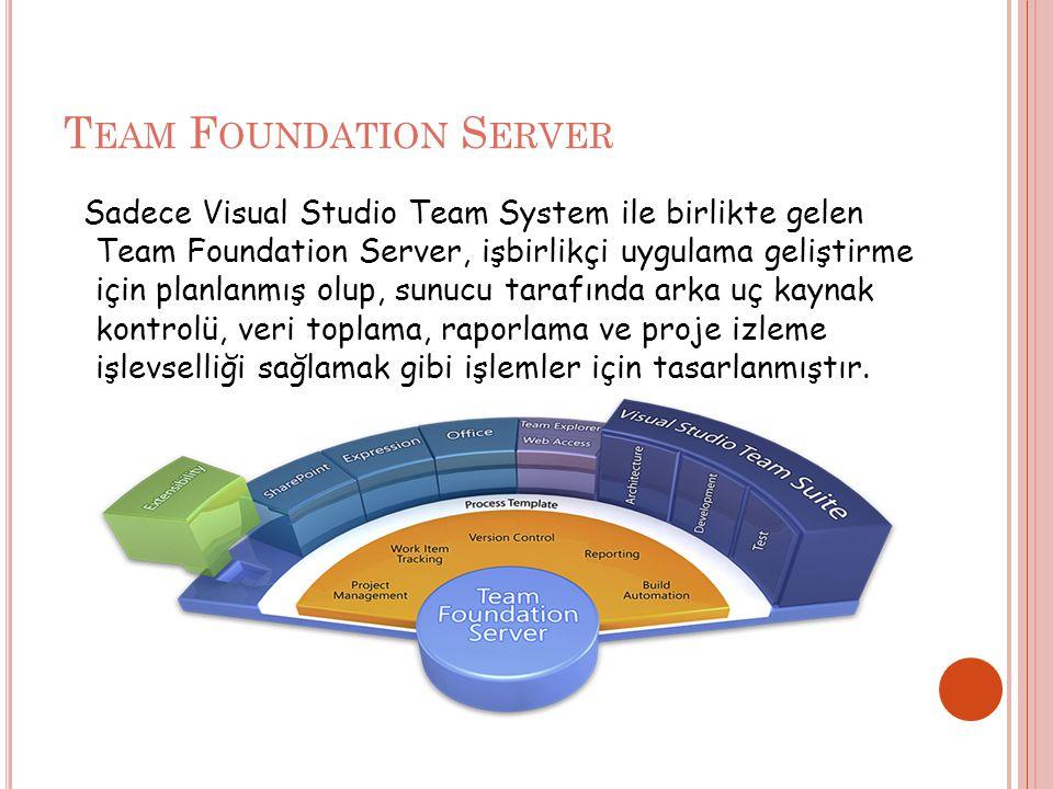 T EAM F OUNDATION S ERVER Sadece Visual Studio Team System ile birlikte gelen Team Foundation Server, işbirlikçi uygulama geliştirme için planlanmış olup, sunucu tarafında arka uç kaynak kontrolü, veri toplama, raporlama ve proje izleme işlevselliği sağlamak gibi işlemler için tasarlanmıştır.