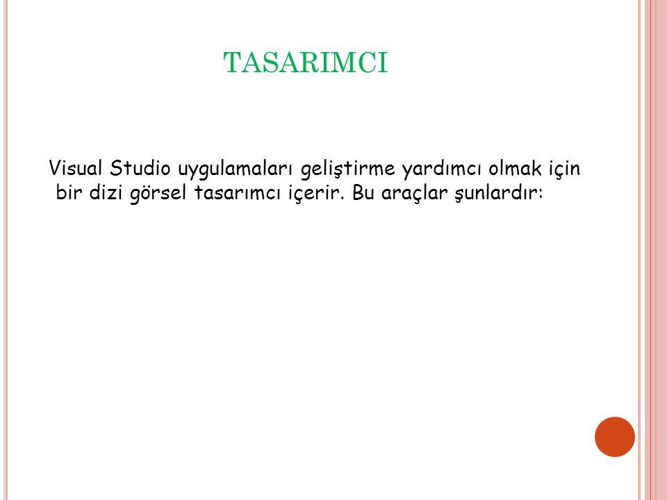 TASARIMCI Visual Studio uygulamaları geliştirme yardımcı olmak için bir dizi görsel tasarımcı içerir.