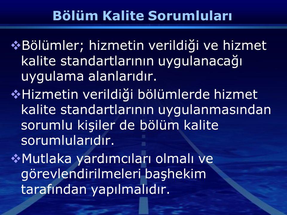 Kalite Yönetim Birimi  Bölüm Kalite Sorumlularının çalışmalarının koordinasyonu  Anket sonuçlarının değerlendirilmesi,  Doküman yönetimi,  Bölüm h