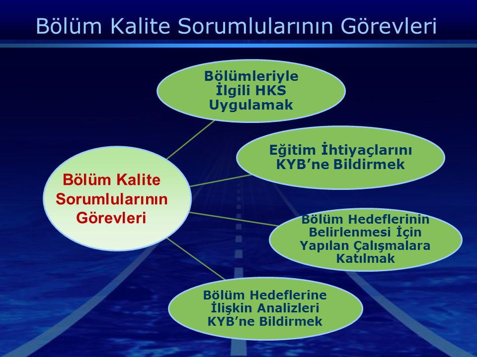 Bölüm Kalite Sorumluları  Bölümler; hizmetin verildiği ve hizmet kalite standartlarının uygulanacağı uygulama alanlarıdır.  Hizmetin verildiği bölüm