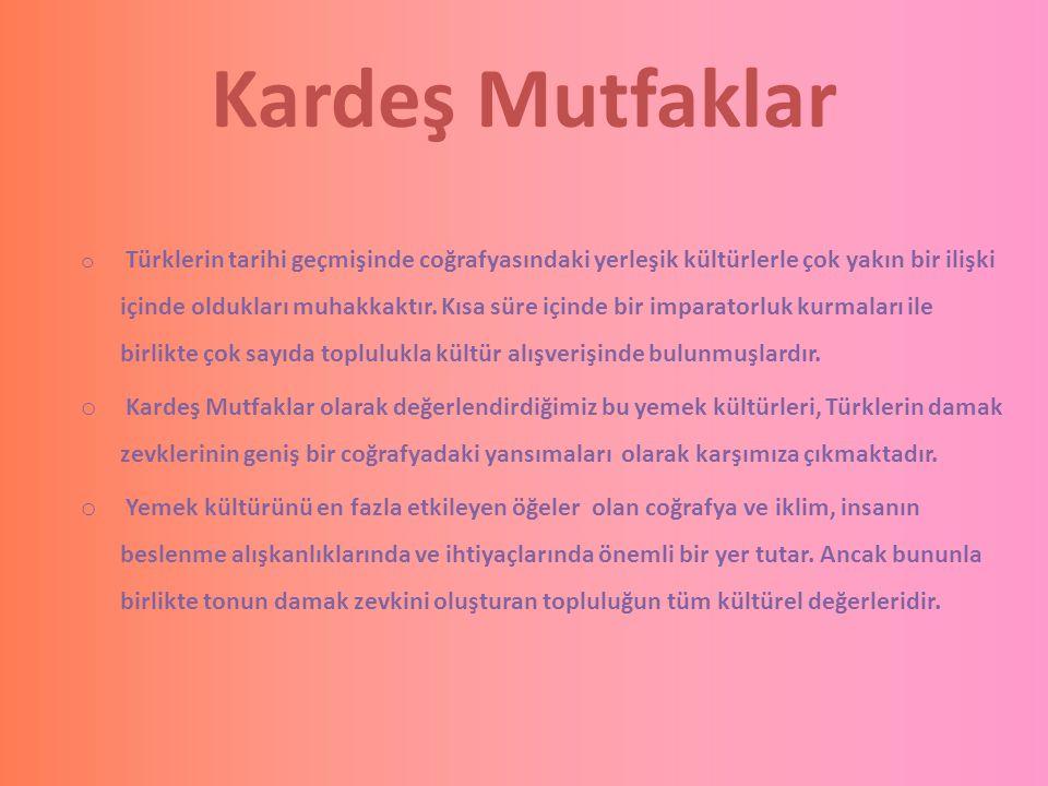 Kardeş Mutfaklar o Türklerin tarihi geçmişinde coğrafyasındaki yerleşik kültürlerle çok yakın bir ilişki içinde oldukları muhakkaktır. Kısa süre içind