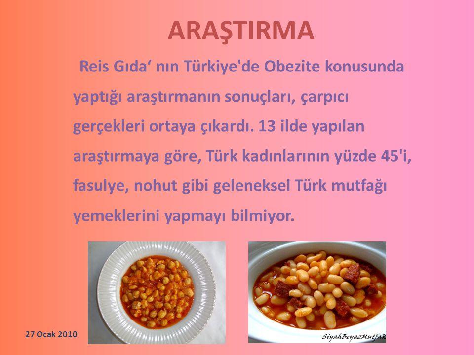ARAŞTIRMA Reis Gıda' nın Türkiye'de Obezite konusunda yaptığı araştırmanın sonuçları, çarpıcı gerçekleri ortaya çıkardı. 13 ilde yapılan araştırmaya g