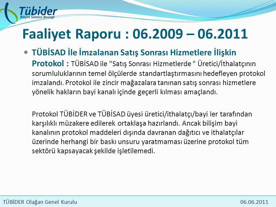 TÜBİDER Meclis Toplantısı 4 Nisan 2009 TÜBİDER Olağan Genel Kurulu 06.06.2011 Faaliyet Raporu : 06.2009 – 06.2011  TÜBİSAD İle İmzalanan Satış Sonrası Hizmetlere İlişkin Protokol : TÜBİSAD ile Satış Sonrası Hizmetlerde Üretici/İthalatçının sorumluluklarının temel ölçülerde standartlaştırmasını hedefleyen protokol imzalandı.
