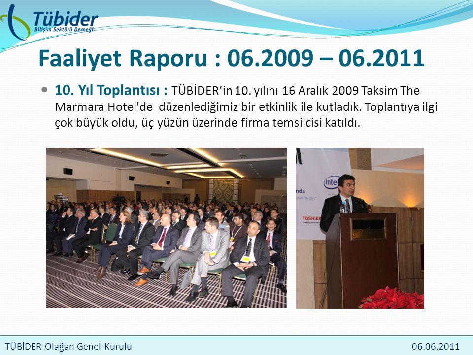 TÜBİDER Meclis Toplantısı 4 Nisan 2009 TÜBİDER Olağan Genel Kurulu 06.06.2011 Faaliyet Raporu : 06.2009 – 06.2011  10.