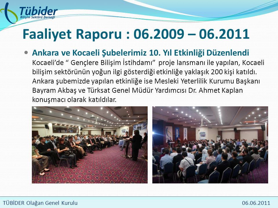 TÜBİDER Meclis Toplantısı 4 Nisan 2009 TÜBİDER Olağan Genel Kurulu 06.06.2011 Faaliyet Raporu : 06.2009 – 06.2011  Ankara ve Kocaeli Şubelerimiz 10.