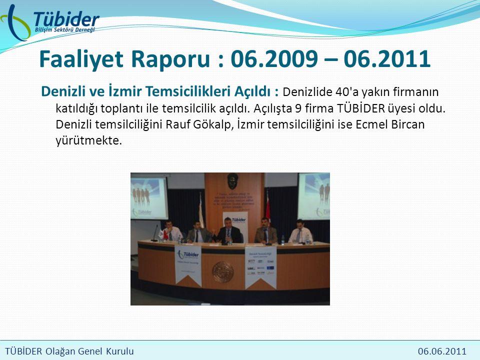 TÜBİDER Meclis Toplantısı 4 Nisan 2009 TÜBİDER Olağan Genel Kurulu 06.06.2011 Faaliyet Raporu : 06.2009 – 06.2011 Denizli ve İzmir Temsicilikleri Açıldı : Denizlide 40 a yakın firmanın katıldığı toplantı ile temsilcilik açıldı.
