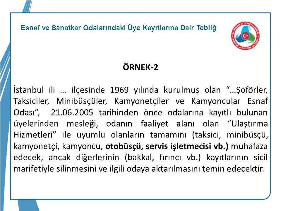 """Esnaf ve Sanatkar Odalarındaki Üye Kayıtlarına Dair Tebliğ ÖRNEK-2 İstanbul ili … ilçesinde 1969 yılında kurulmuş olan """"…Şoförler, Taksiciler, Minibüs"""