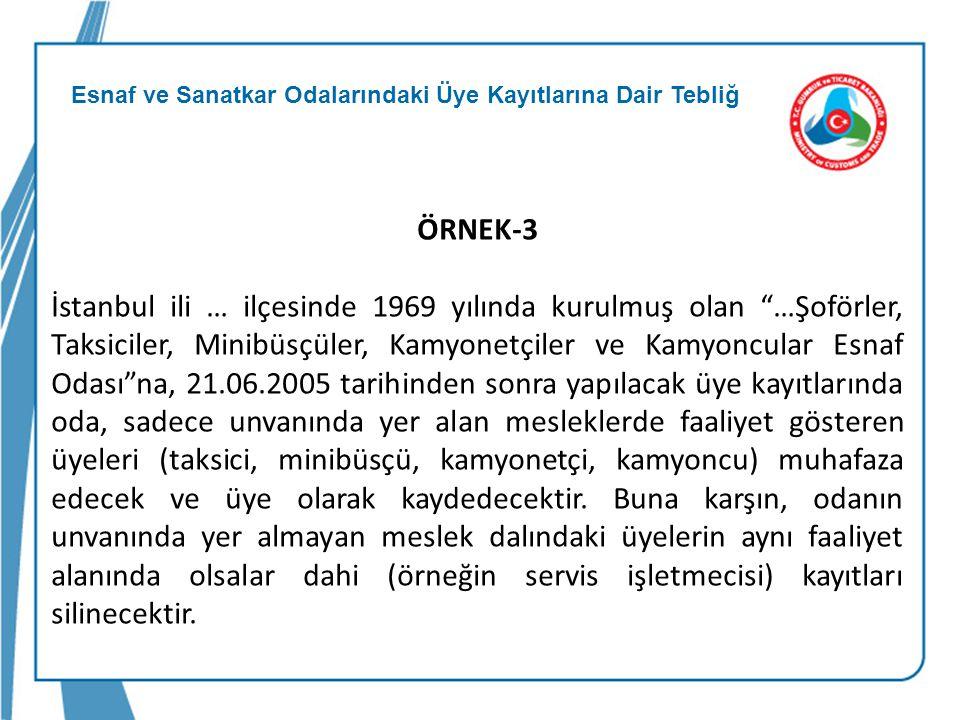 """Esnaf ve Sanatkar Odalarındaki Üye Kayıtlarına Dair Tebliğ ÖRNEK-3 İstanbul ili … ilçesinde 1969 yılında kurulmuş olan """"…Şoförler, Taksiciler, Minibüs"""