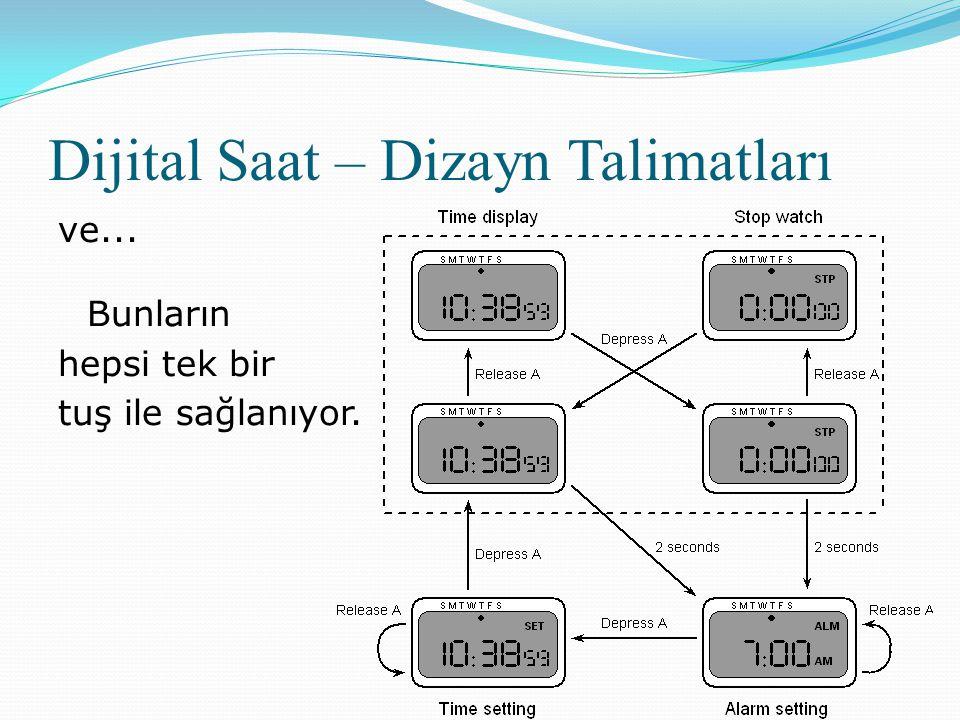 Dijital Saat – Dizayn Talimatları ve... Bunların hepsi tek bir tuş ile sağlanıyor.