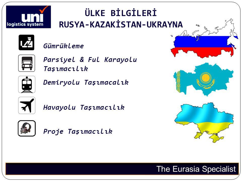 ÜLKE BİLGİLERİ RUSYA-KAZAKİSTAN-UKRAYNA The Eurasia Specialist Gümrükleme Parsiyel & Ful Karayolu Taşımacılık Demiryolu Taşımacalık Havayolu Taşımacıl